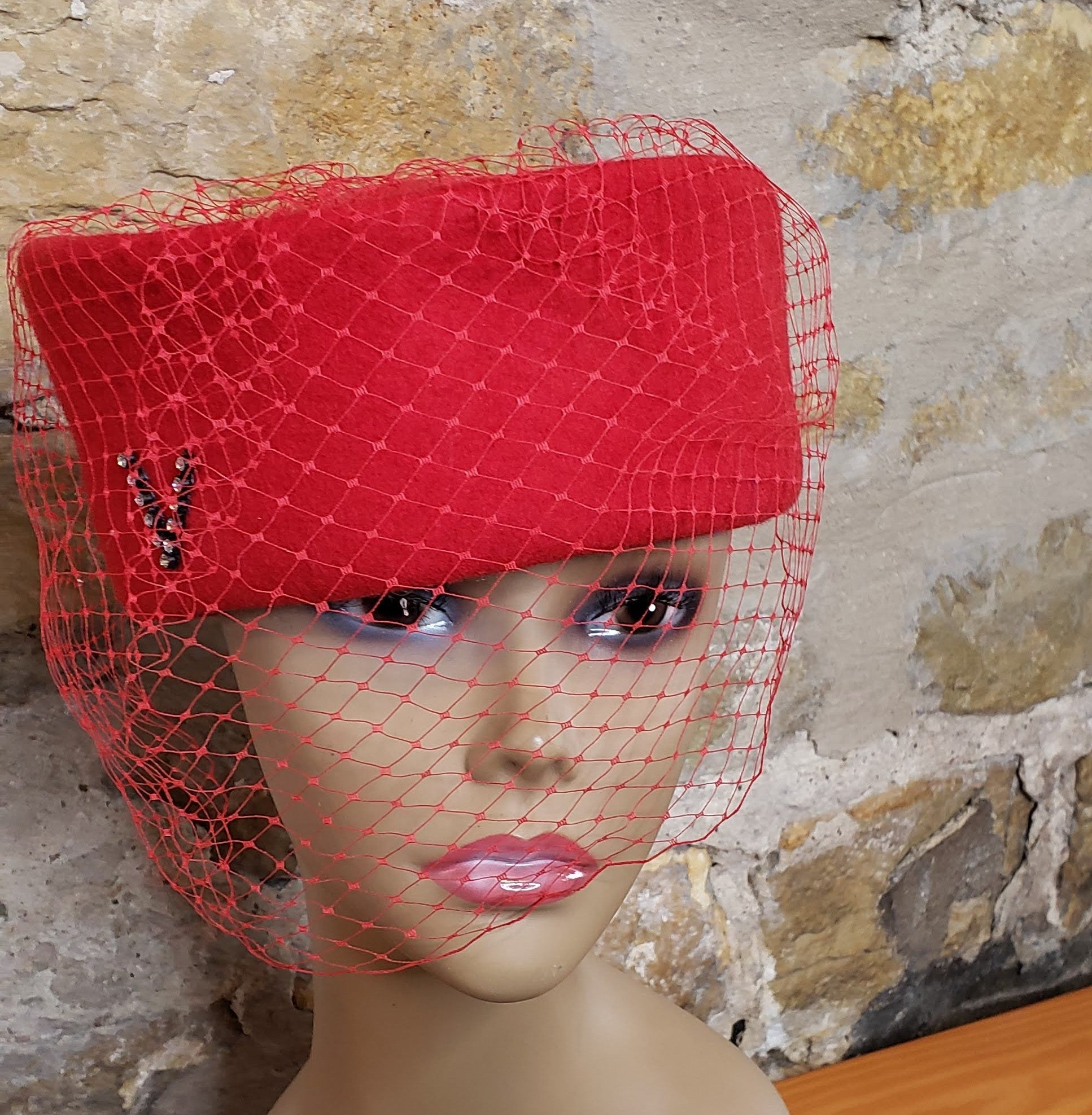 Vintage Red Wool Veil Hat