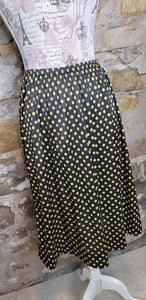 Vintage Black and Yellow Polka Dot Skirt Sz S/M