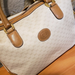 Gucci Vintage Cream and Tan Crossbody Bag