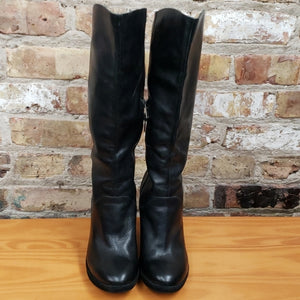 Kork Ease Black Leather Wedge Boots Sz 6.5