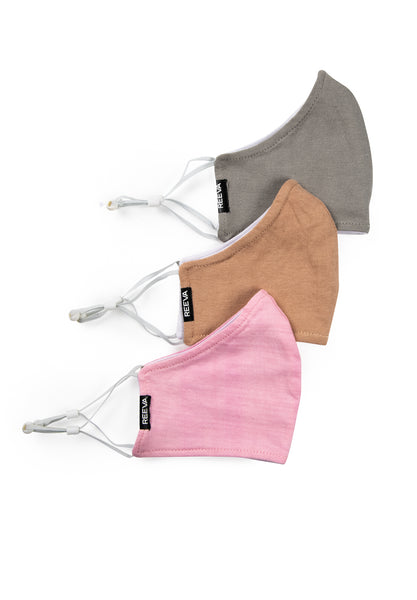 Reeva community masks - 3 pack (pink, grey, beige)