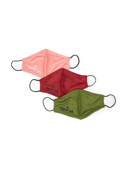 Reeva community masks - 3 pack (green, red, pink)