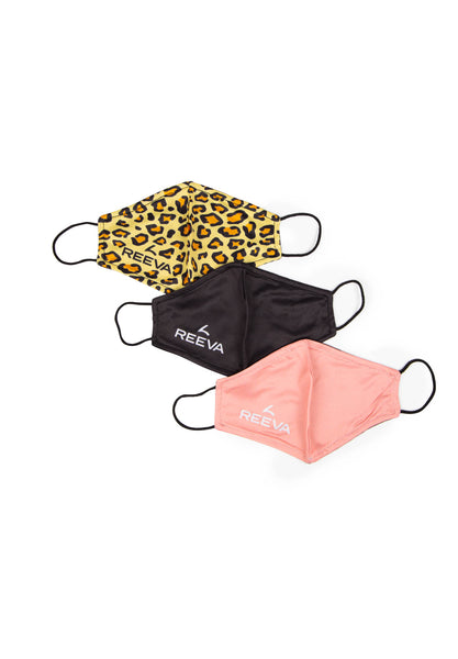 Reeva mouth mask - 3 pack (pink, panter, black)
