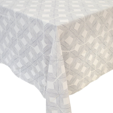 Manila Washed Blue & White Linen Tablecloth