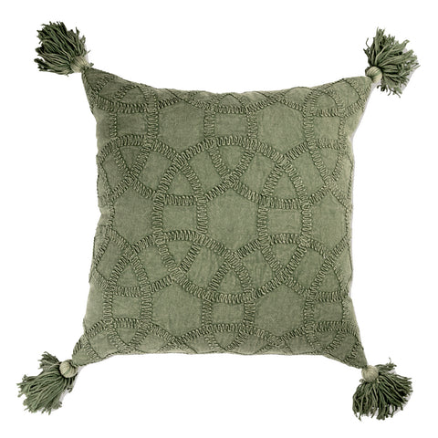 Yarra Embroidered Cushion - Moss