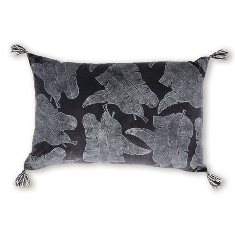 Jungle Block Print Lumbar Cushion - Charcoal