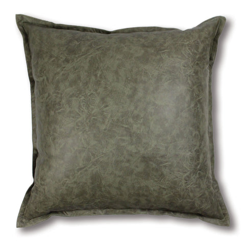 Boston Leather Look Cushion - Olive
