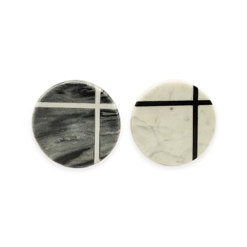 Midnight Grey And White Marble Hooks - Set Of 2