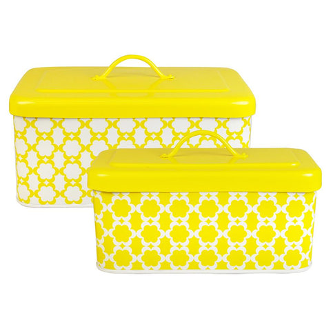 Medallion Bread Box Set of 2- Yellow