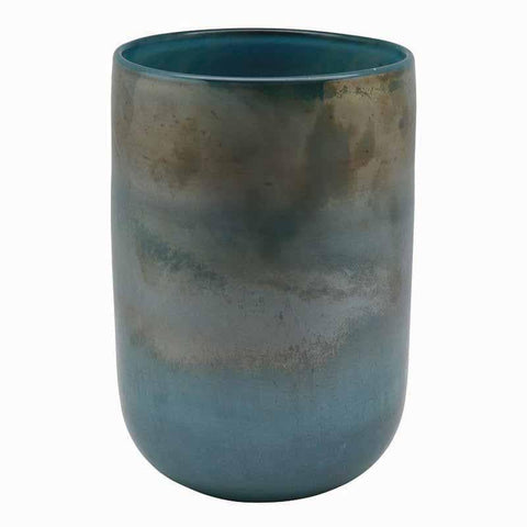 Gradient Aqua Mouth-Blown Glass Vase