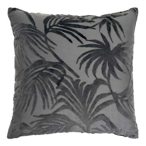 Palm Jacquard Cushion - Charcoal