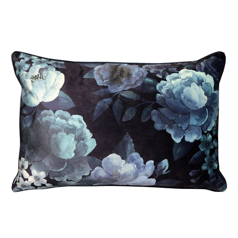 Eclipse Floral Ink Velvet Lumbar Cushion