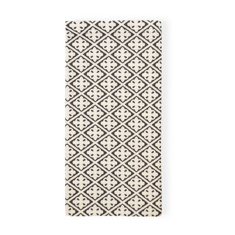 Eden Block Print Charcoal Napkin - Set of 4