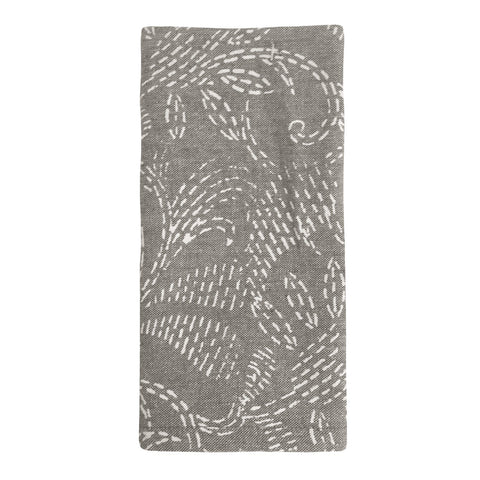 Block Print Floral Charcoal Napkin - Set of 4