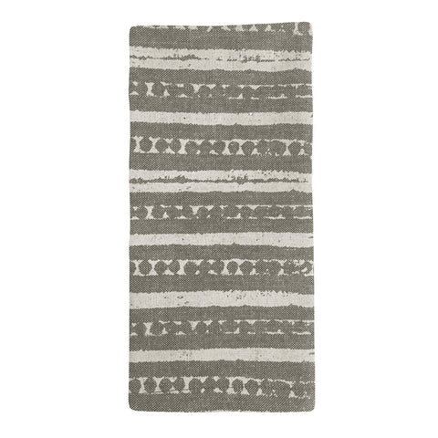 Block Print Stripe Charcoal Napkin - Set of 4