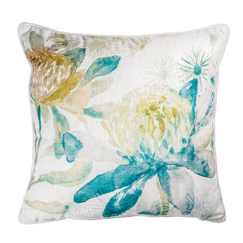 Summer Garden Blue Ochre Cushion