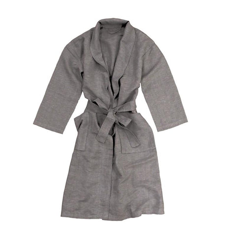 South Hampton Linen Bath Robe - Charcoal