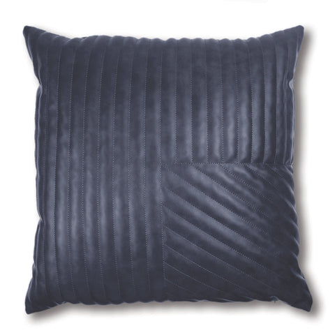 Milan Blue Quilted Leather Look Cushion