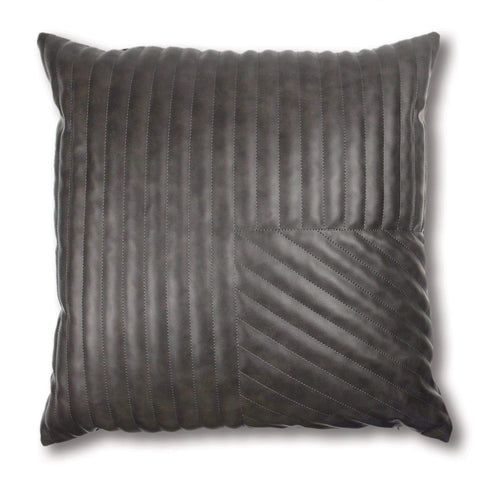 Milan Charcoal Quilted Leather Look Cushion