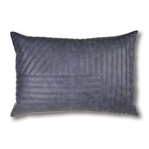 Milan Blue Quilted Leather Look Lumbar Cushion
