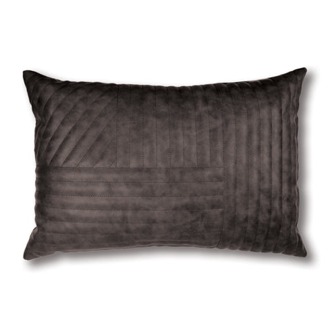Charcoal Quilted Leather-Look Lumbar Cushion