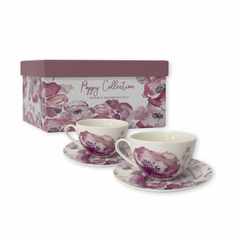Poppy Pink Teacup and Saucer - Set of 2