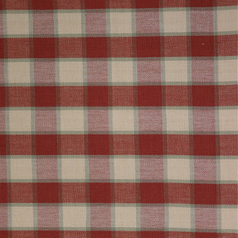 Hooghly Double Check Fabric - Terracotta / Sage