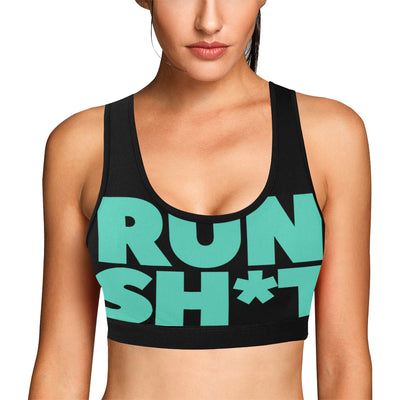 Runsh*t™ Macro Print Sports Bra in Black w/ Aquamarine