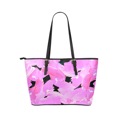 Rembrandt Tote in Black Leather w/ Blushing Rose