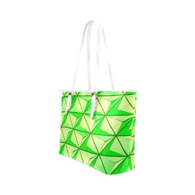 Crystal Mini Tote in White Leather w/ Limelight