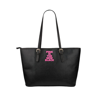 PITNB™ Signature Print Chunky Discreet Tote in Black Leather w/ Blushing Rose