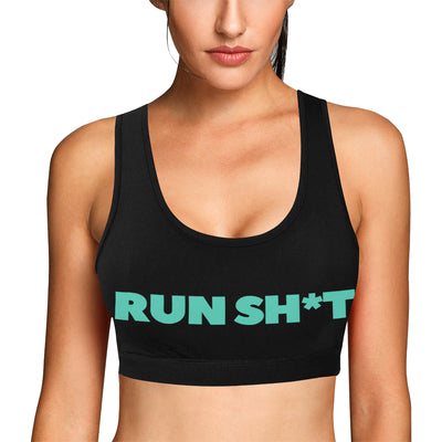Runsh*t™ Classic Print Sports Bra in Black w/ Aquamarine