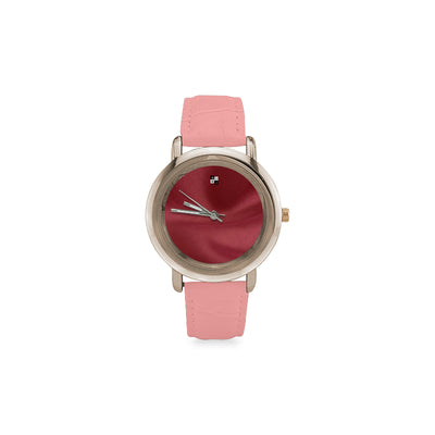 Classic Silhouette Rose Gold Plated Timepiece w/ Ruby Face