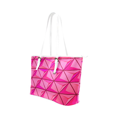 Crystal Tote in White Leather w/ Blushing Rose