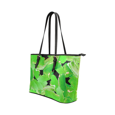 Rembrandt Tote in Black Leather w/ Jade