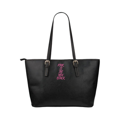 PITNB™ Signature Print Discreet Tote in Black Leather w/ Blushing Rose