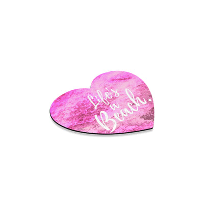 Life's a Beach™ Heart Coaster in Pink Sands