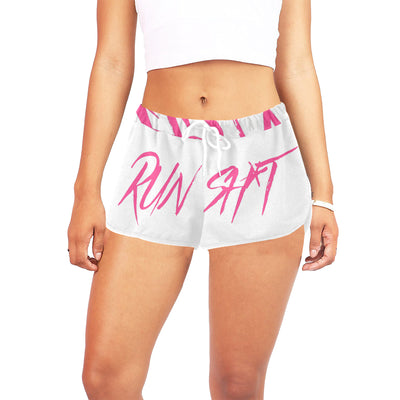 Runsh*t™ Gym Savage Running Shorts in White w/ Blushing Rose