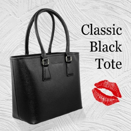 Classic MM Italian Leather Tote Bag - Black
