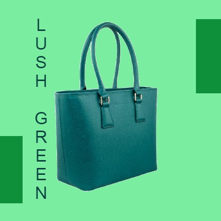 Classic MM Italian Leather Tote Bag - Dark Green