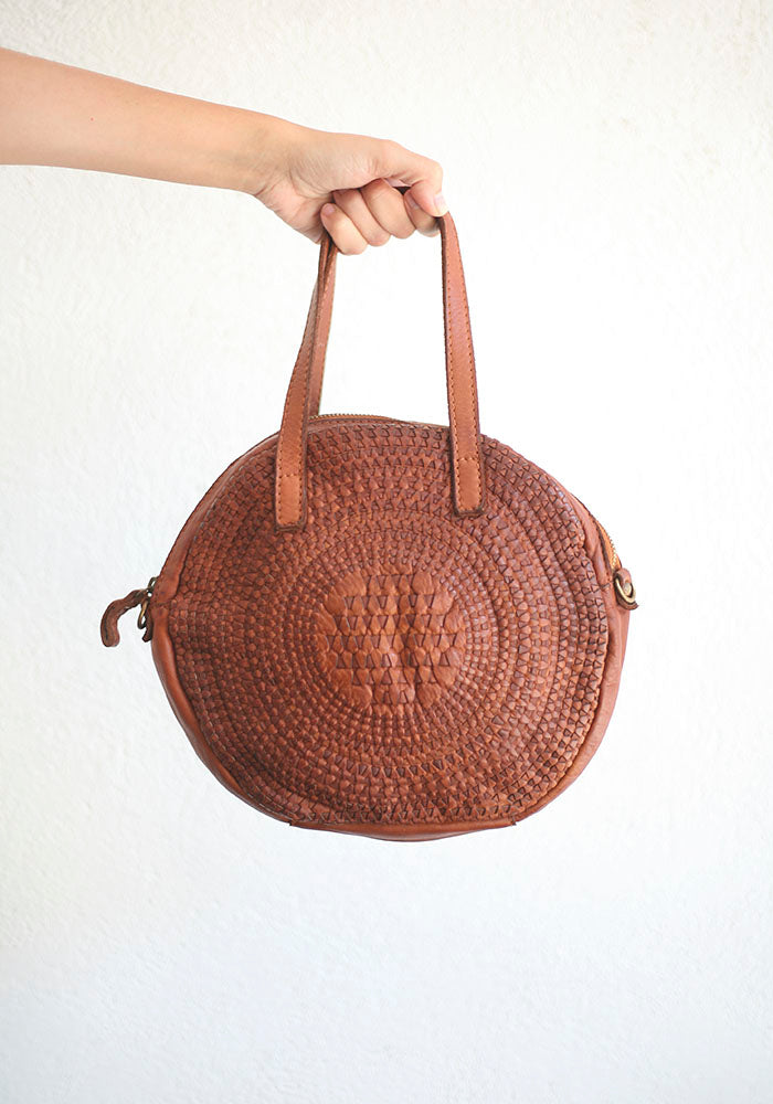 Small Round Brown Leather  Handbag
