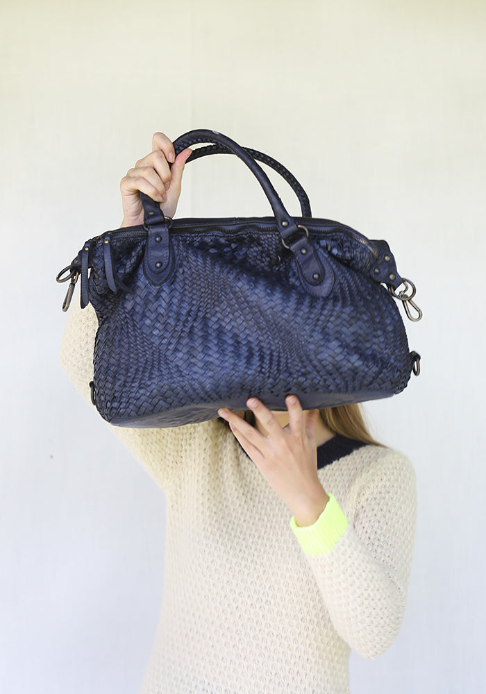 Braid Blue Leather Handbag