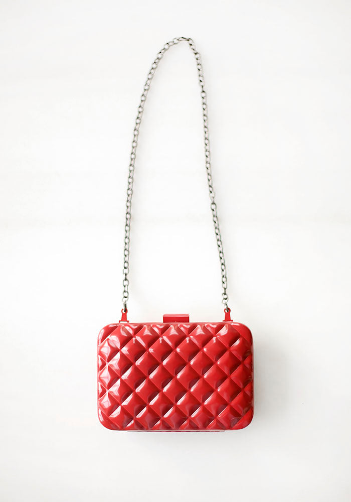 Rigid Padded Dark Red Clutch