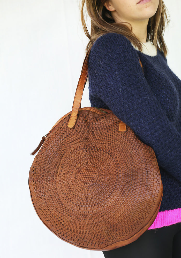 Large Round Brown Leather Handbag