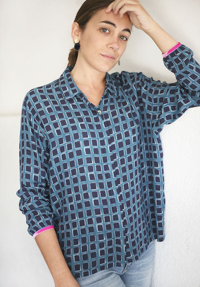 Camisa Estampado Chocolate Azul
