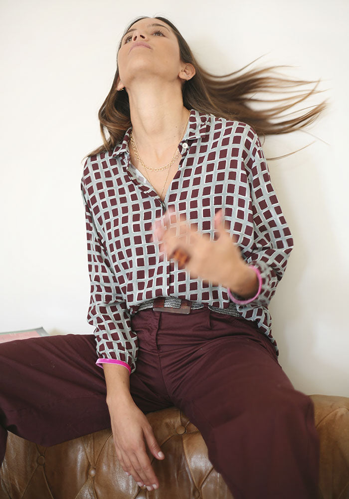 Camisa Estampado Chocolate Vino