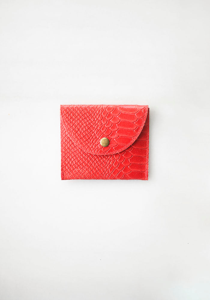 Red Texture Leather Purse