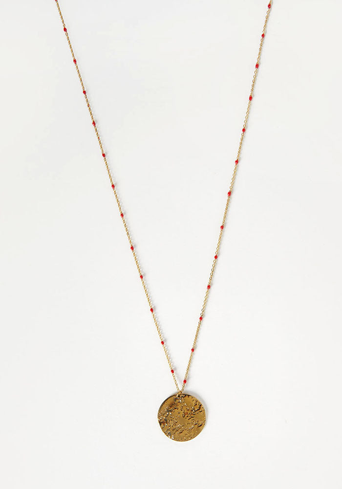 Collar Medalla Moon Rojo