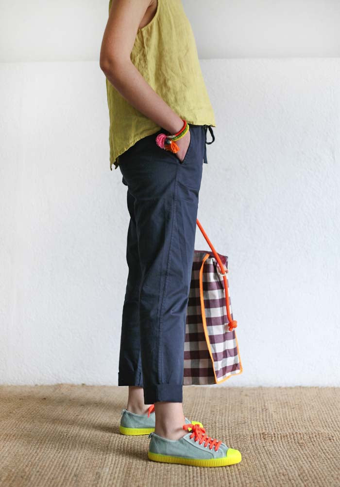 Blue Straight Cotton Pants
