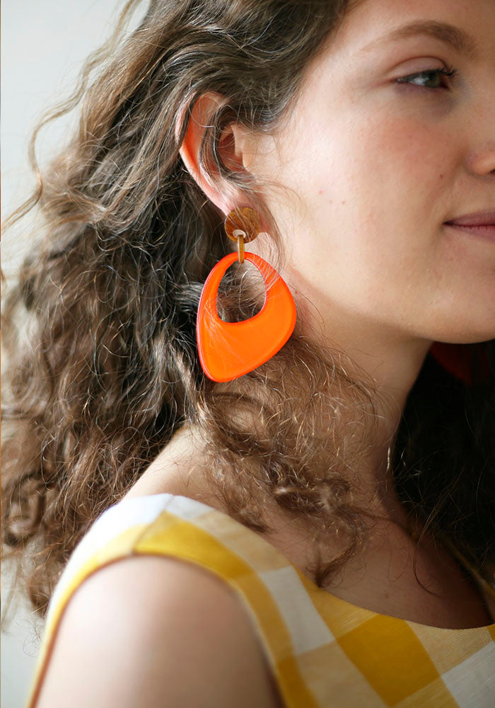 Abstract Orange Earrings